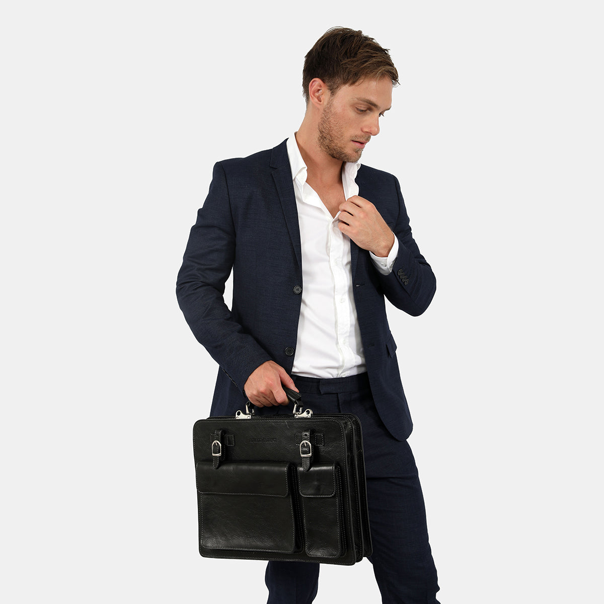 Munich Black - Leather Briefcase double compartments