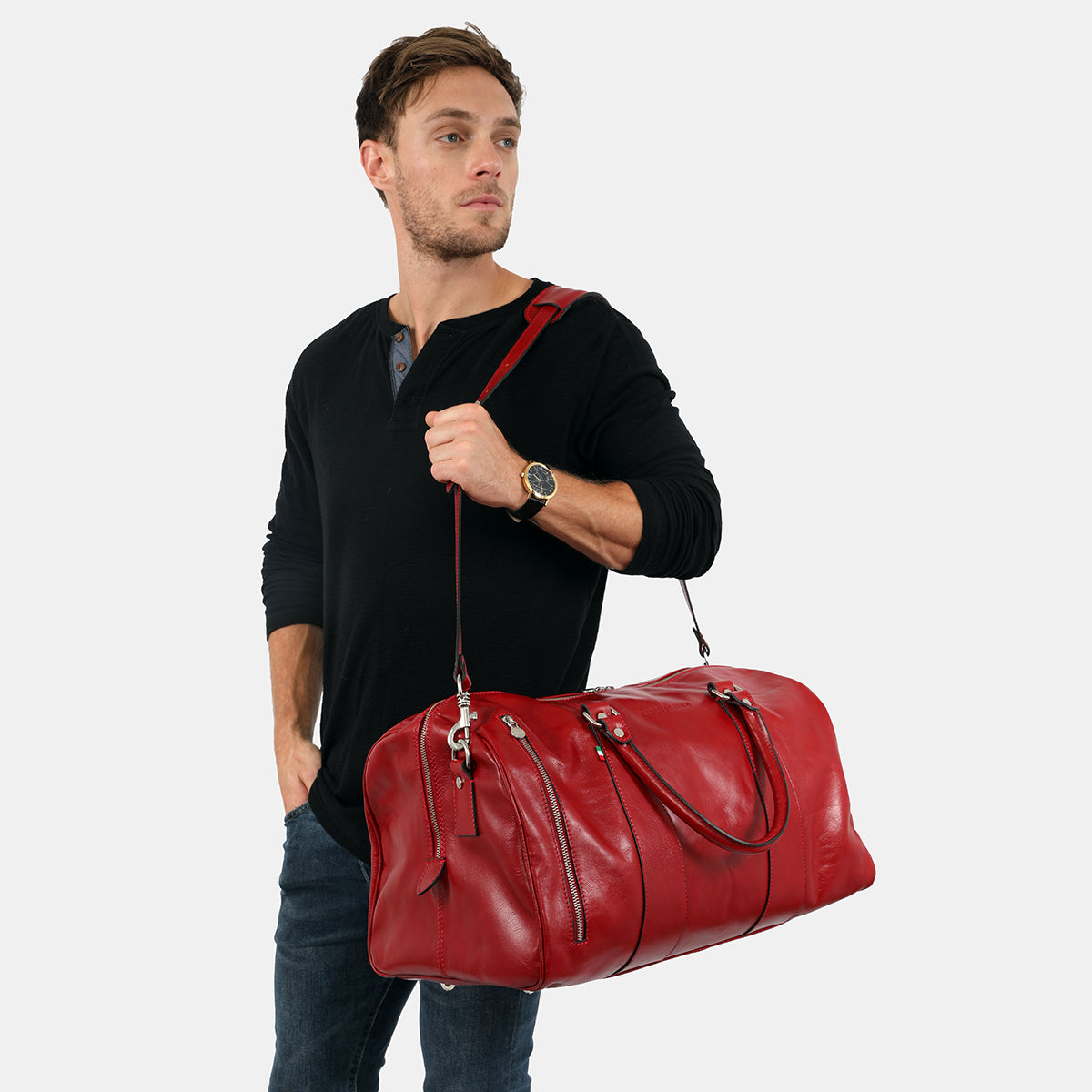 Nardi Red - Leather Duffle Cabin Bag with outer pocket