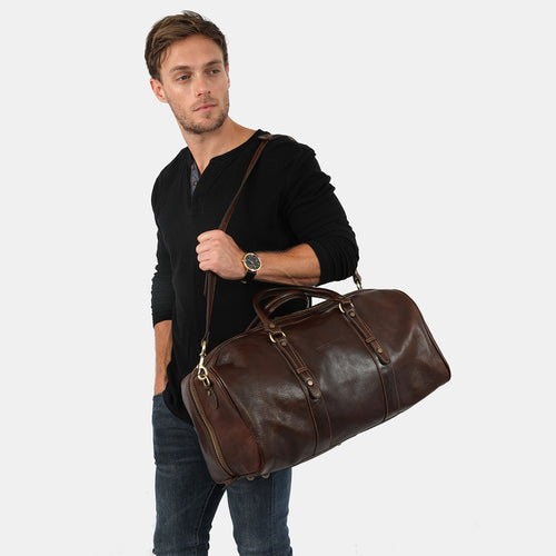 Polo Medium Chocolate - Leather Duffle Bag
