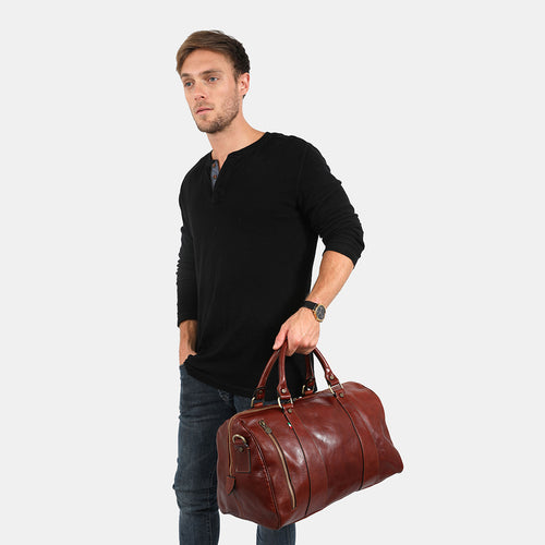 Small Nardi Brown - Leather Overnigth Duffle Bag