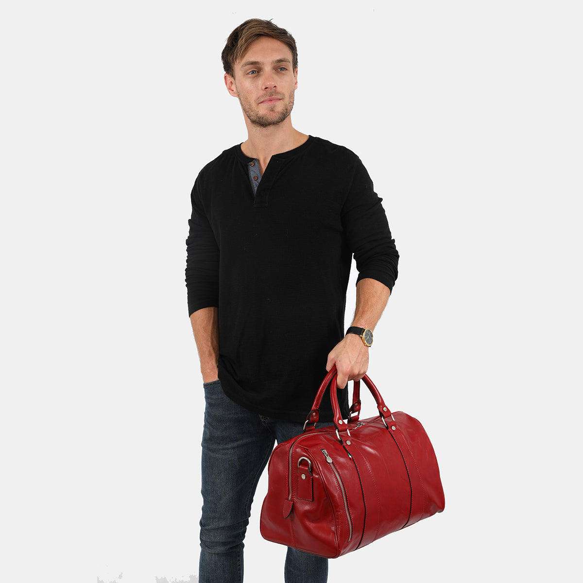 Small Nardi Red - Leather Overnigth Bag