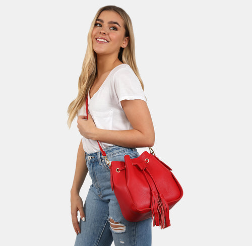 Agnes Red Bucket Bag