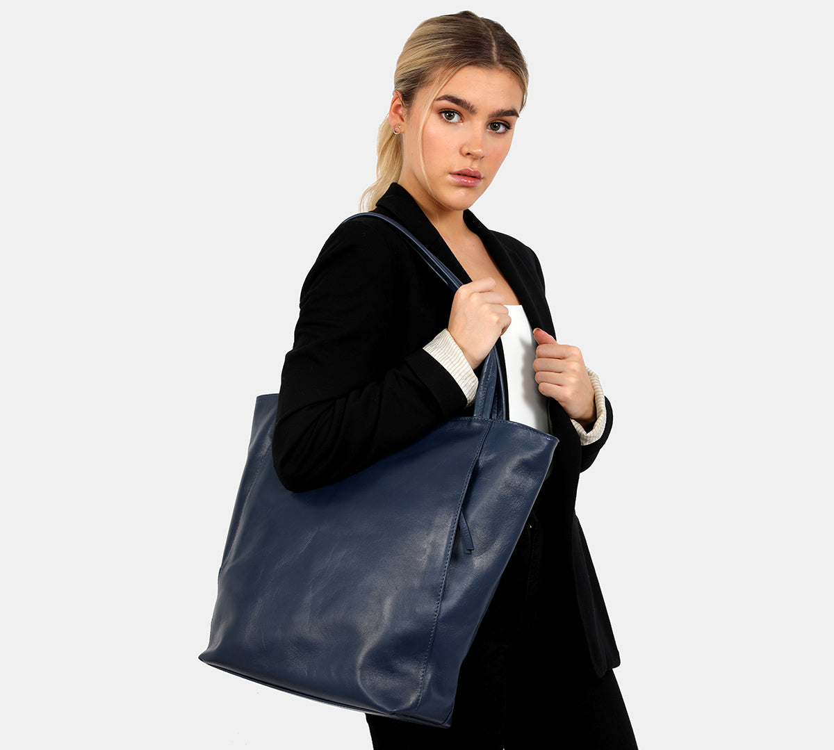 Isabella Blue Jeans - Soft leather tote with outer pockets