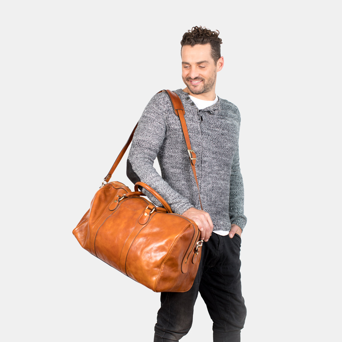 Beltrami Tan - Leather Weekender Bag
