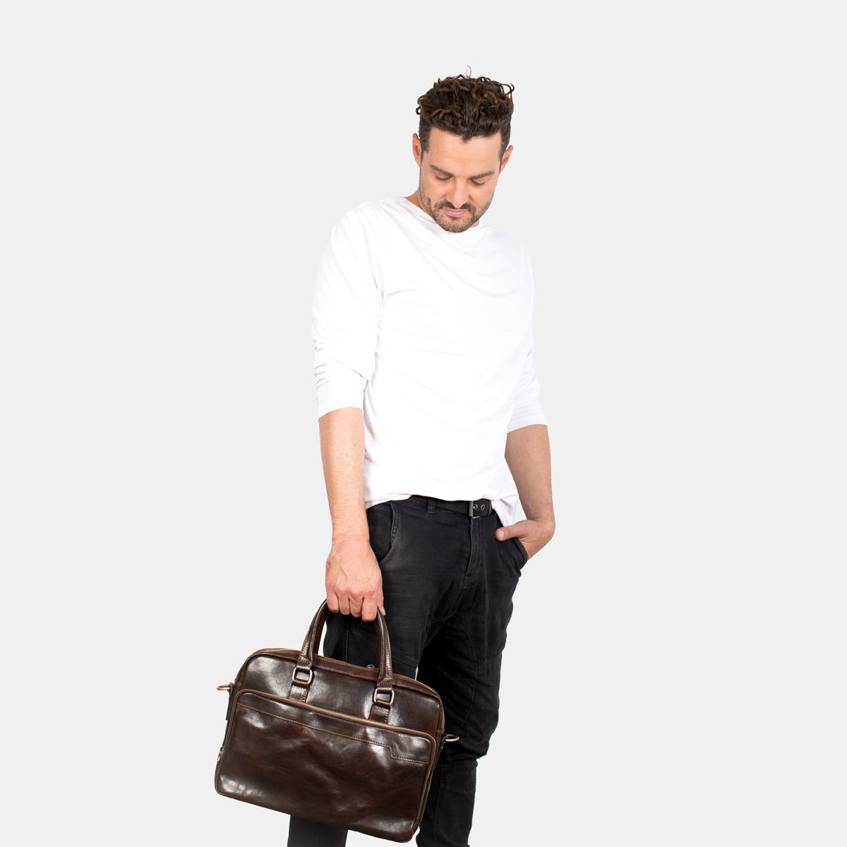 London Chocolate - Leather Briefcase latpop/table compartment