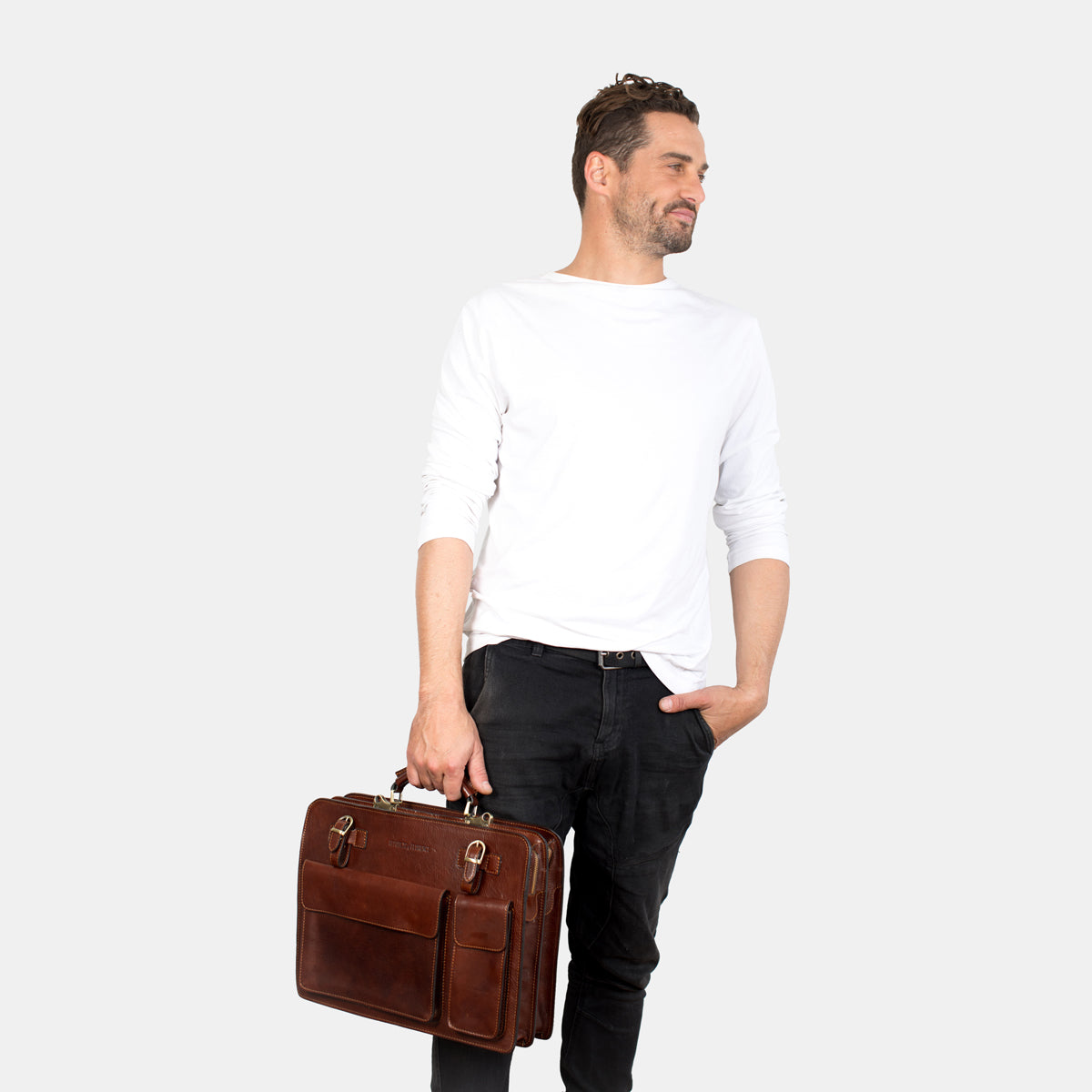 Munich Brown - Leather Briefcase double compartments