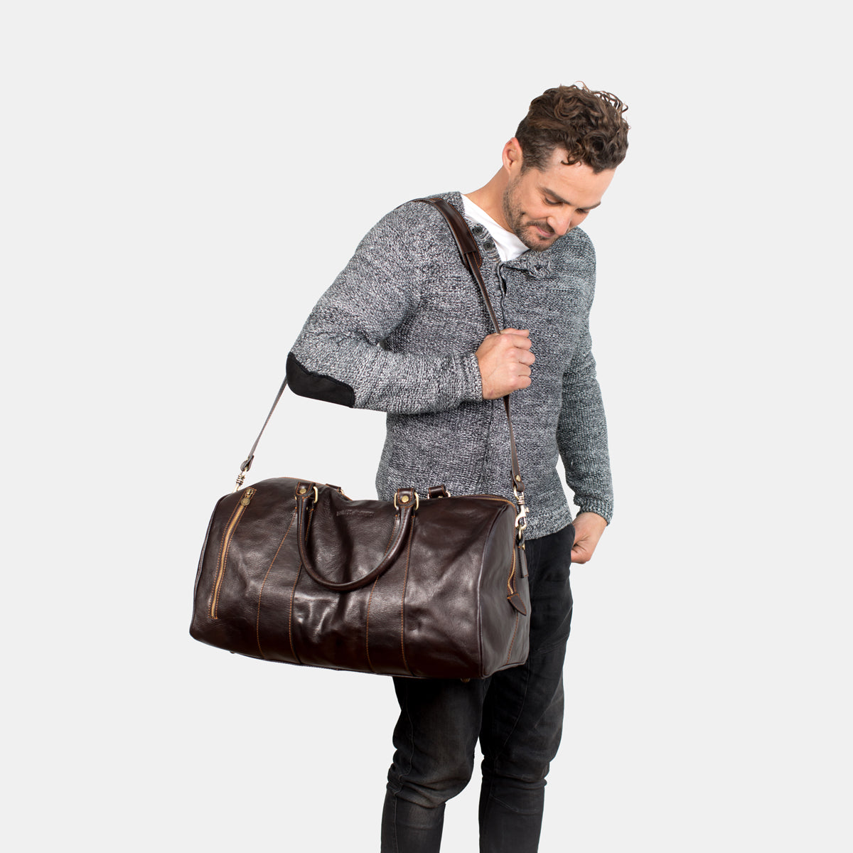Nardi Chocolate - Leather Weekender Bag with outside pocket