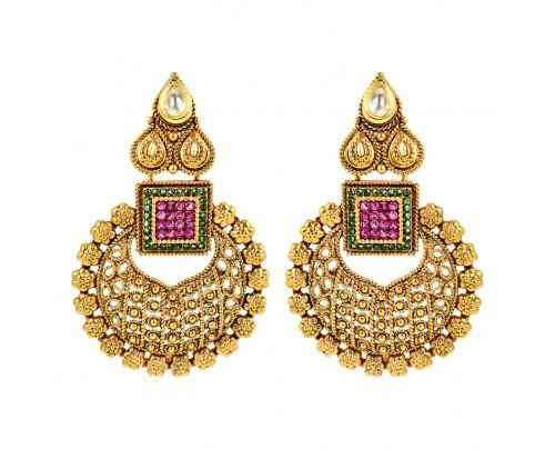 pink-stones-gold-kundan-earrings