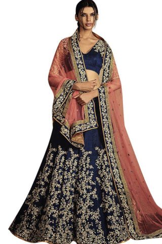 blue-peach-a-line-lehenga-in-bhagalpuri-silk