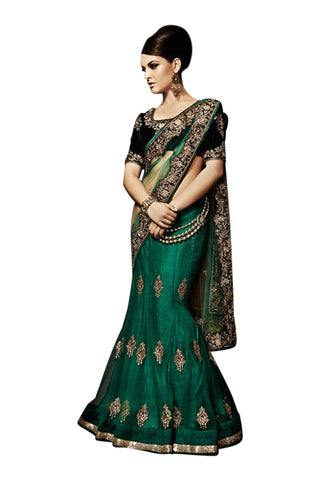 emerald-green-lehenga-style-saree-in-net
