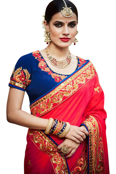red-royal-blue-half-and-half-saree-in-tussar-silk