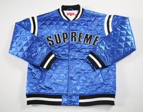 SUPREME S/S 17 Quilted Satin Varsity Jacket - Blue