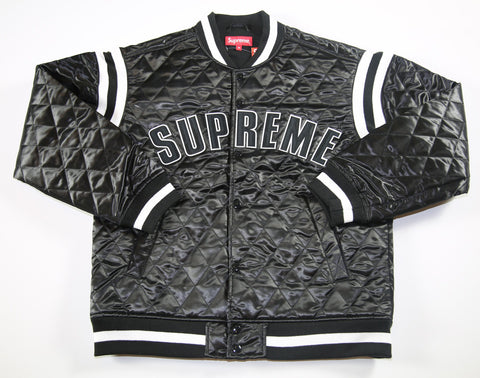 SUPREME S/S 17 Quilted Satin Varsity Jacket - Black