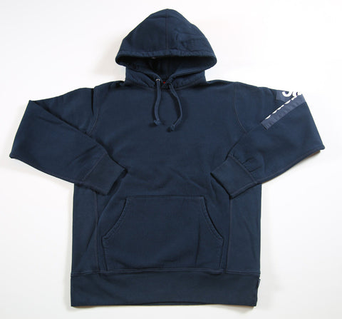 SUPREME S/S 17 Sleeve Patch Hooded Sweatshirt - Navy