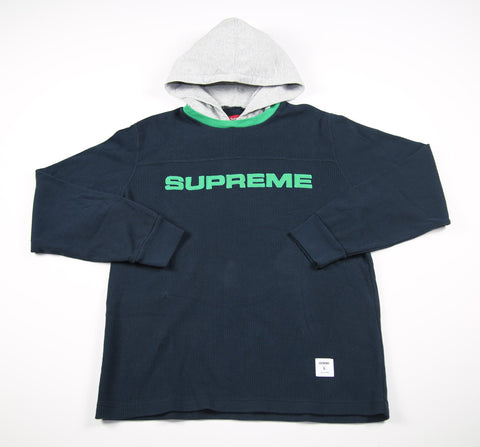 SUPREME A/W 17 Hooded Waffle Ringer - Navy