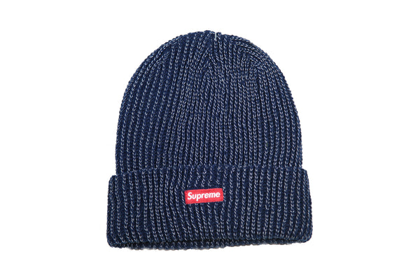 SUPREME A/W 17 Reflective Loose Gauge Beanie - Navy