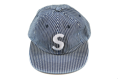 SUPREME S/S 17 Washed Denim S Logo Cap - Stripes