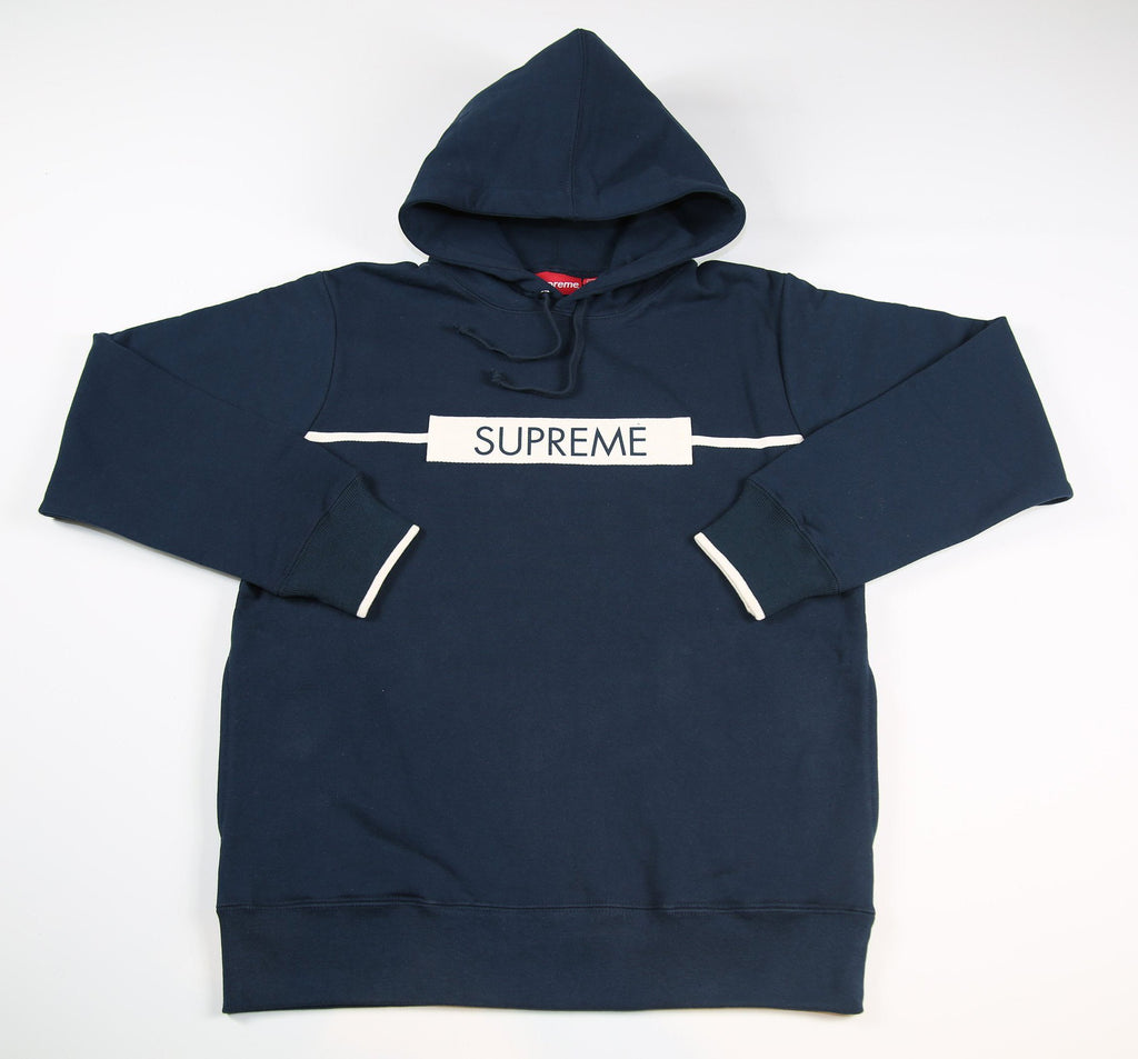 SUPREME S/S 17 Chest Twill Tape Hooded Sweatshirt - Navy