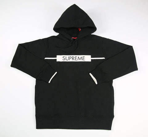 SUPREME S/S 17 Chest Twill Tape Hooded Sweatshirt - Black
