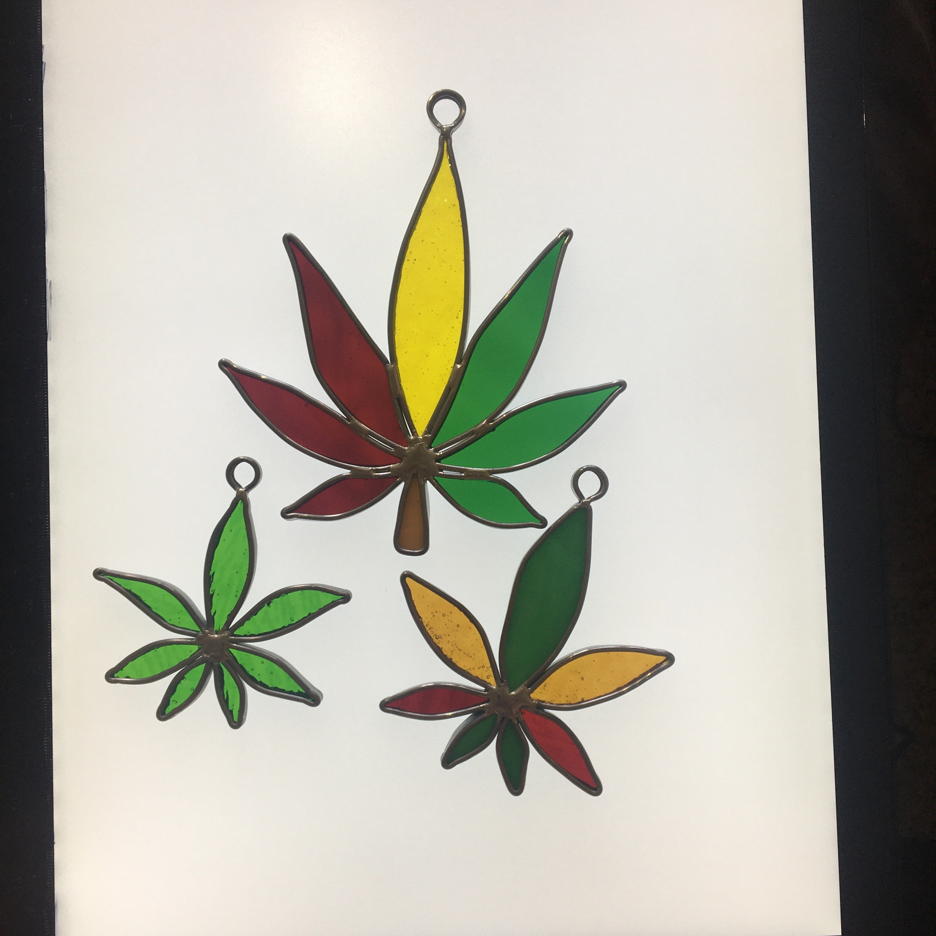 Stained Glass Hemp Leaf Window Art