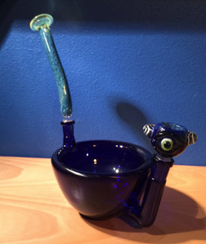 Prototype Cereal Bowl Pipe in Cobalt with Cobalt Cyclops Slide