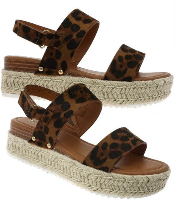 Kids Leona Leopard Wedges