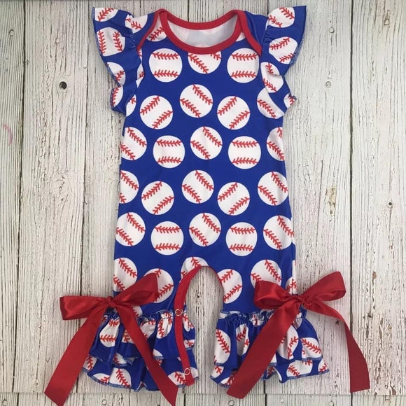 Girls Baseball Junkie Romper