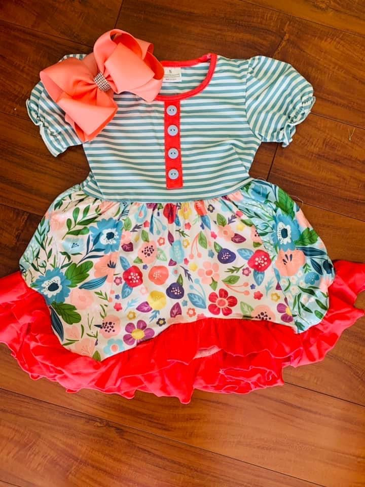 Girls Frilly Floral Dress