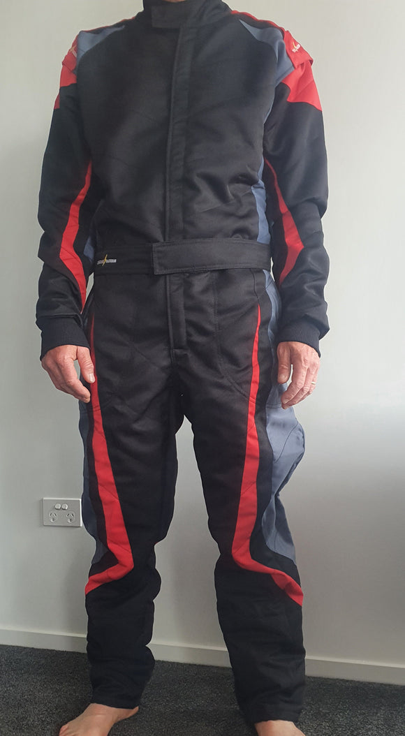 Kart Race Suit - CIK - 2021 New Gen Super Soft Suit (LRG2021) Black/Red/Gray