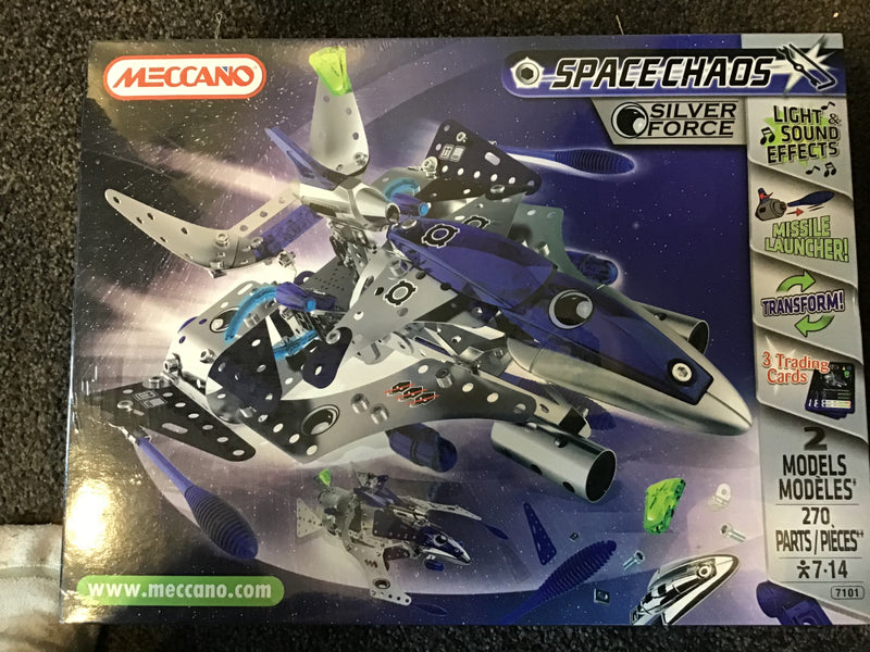 MECCANO SPACE CHAOS  LIGHTS SOUNDS AND MISSILE LAUNCHERS