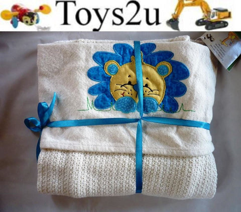 "BABY BLANKET 100% COTTON GREAT QUALITY ""LION BLUE"