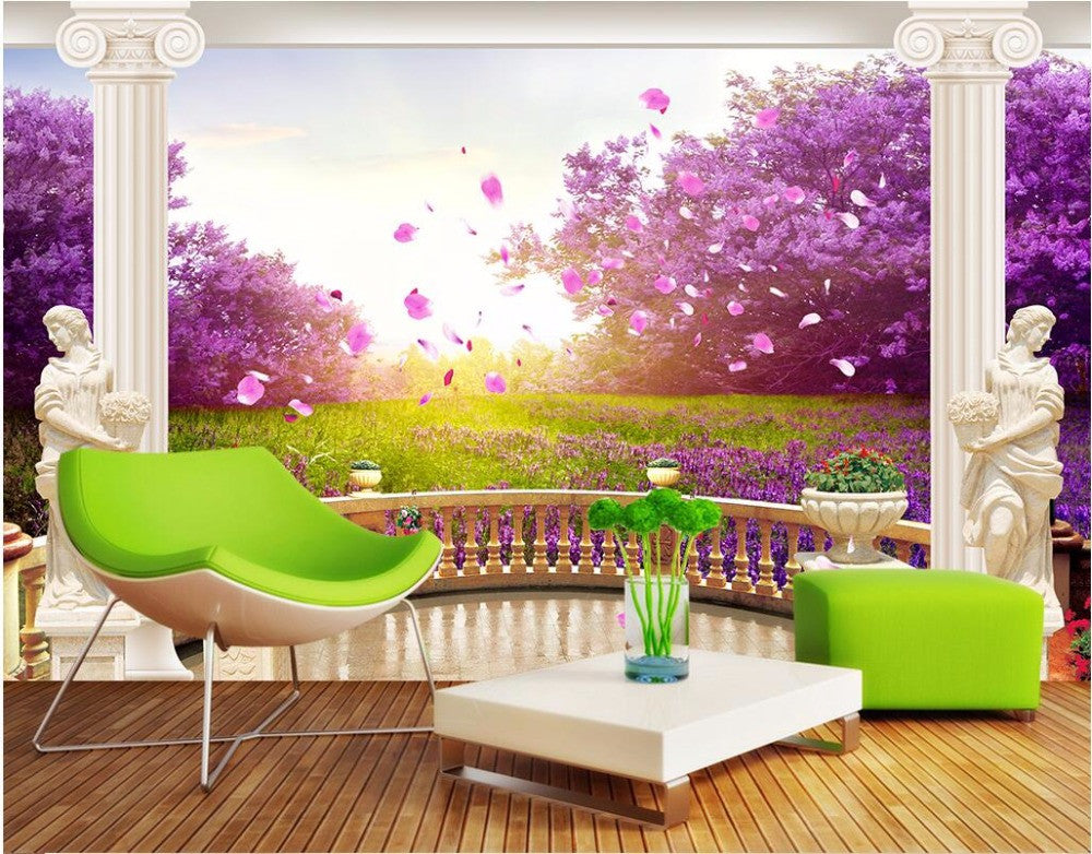 Custom Photo 3d Wall Murals Wallpaper Backyard Cherry Blossom