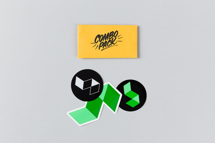 1 die-cut logo sticker, one black/green circle sticker, one black/silver circle sticker