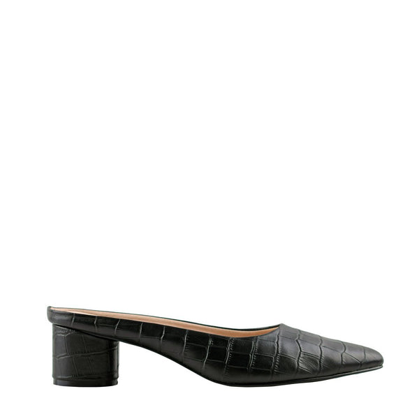 Diana Black Crocodile Mules
