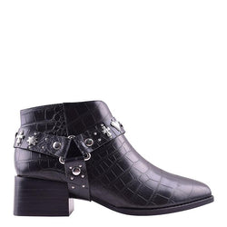 Eddie Boot Black Croc