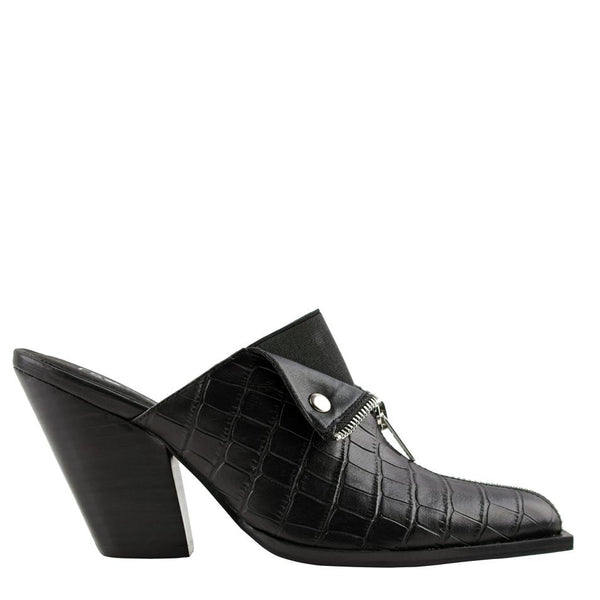 Isabella Black Crocodile Mules