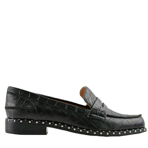 Lloyd Black Crocodile Loafers - Sol Sana Australia
