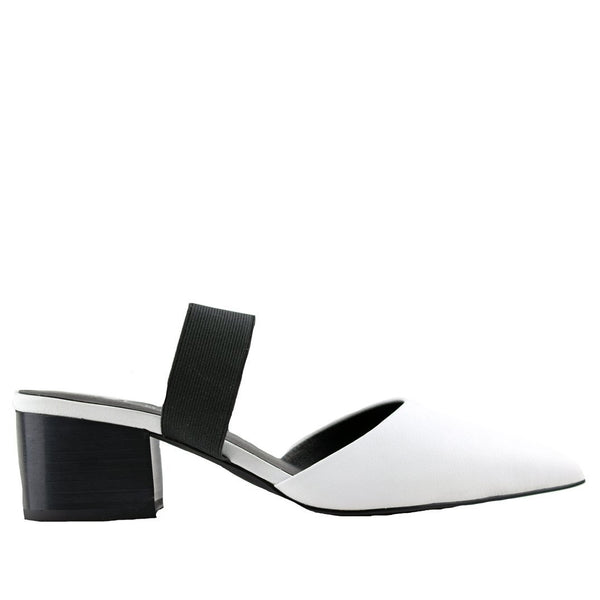 Madison Slingback White Mules