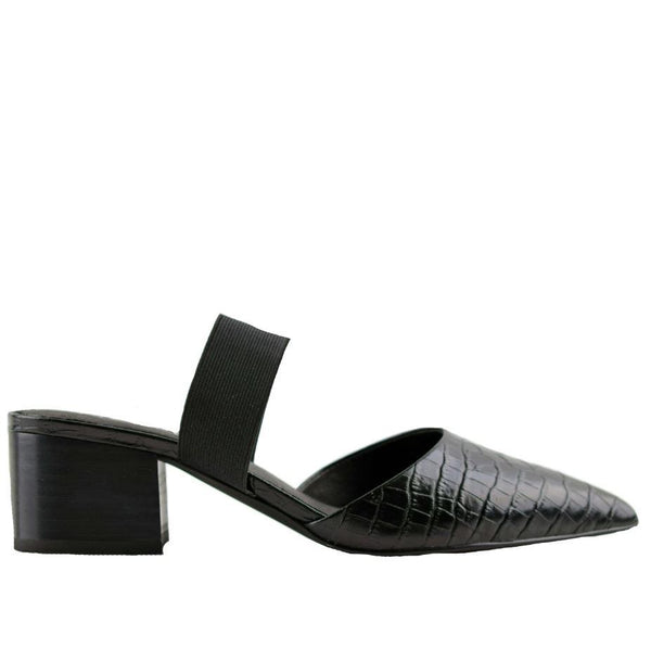 Madison Slingback Black Crocodile Mules