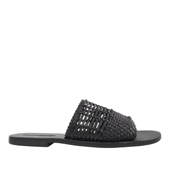 Megan Black Round Toe Slides