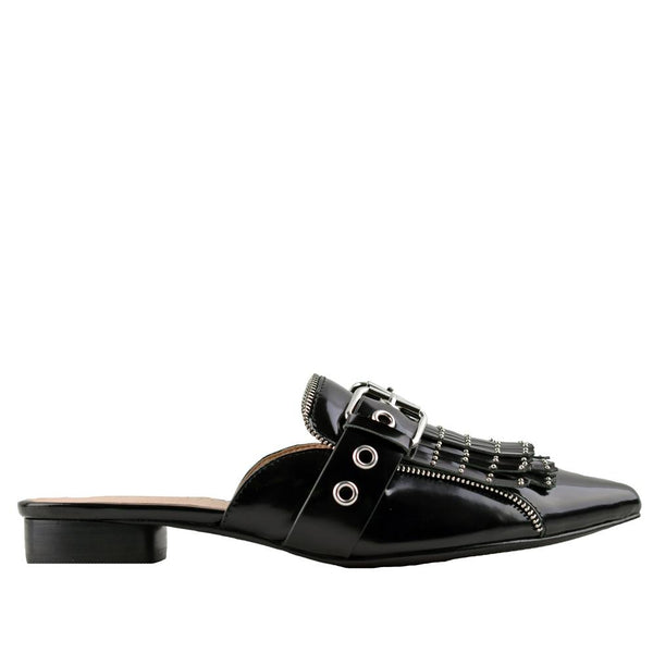 Sadie Gloss Black Slides