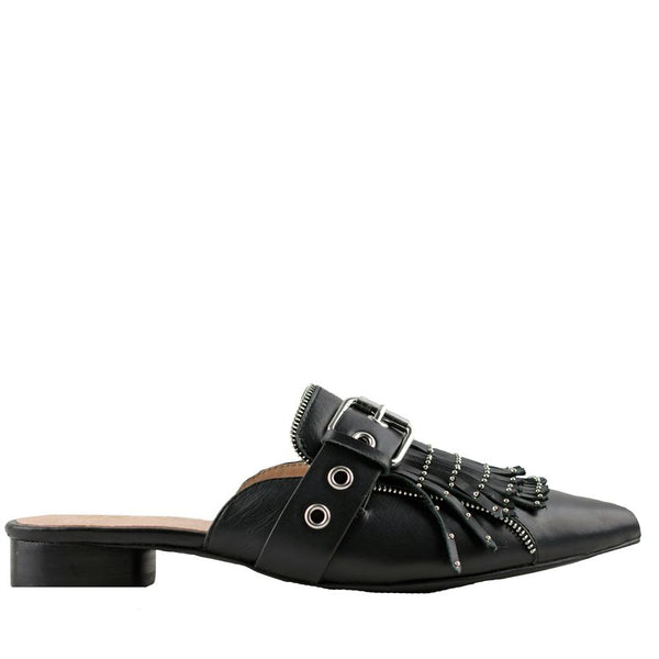 Sadie Black Leather Slides