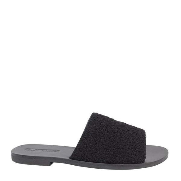 Teresa Faux Black Shearling Slides