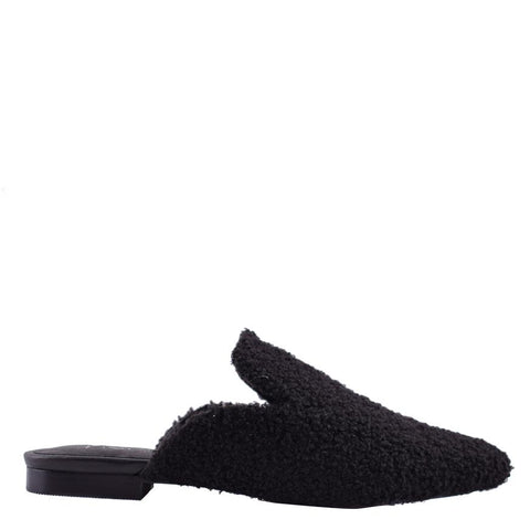 Willow Faux Black Shearling Loafers - Sol Sana Australia