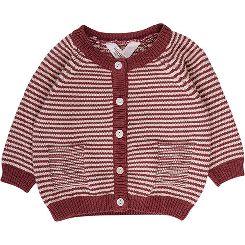 Müsli - Knit stripe cardigan (dusty berry)