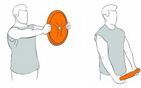 Front Shoulder Raise Exercise with Weight Plates