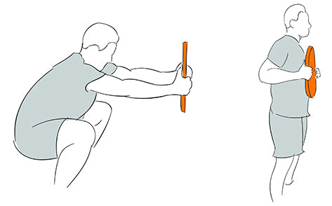 Squat Reach with Weight Plates