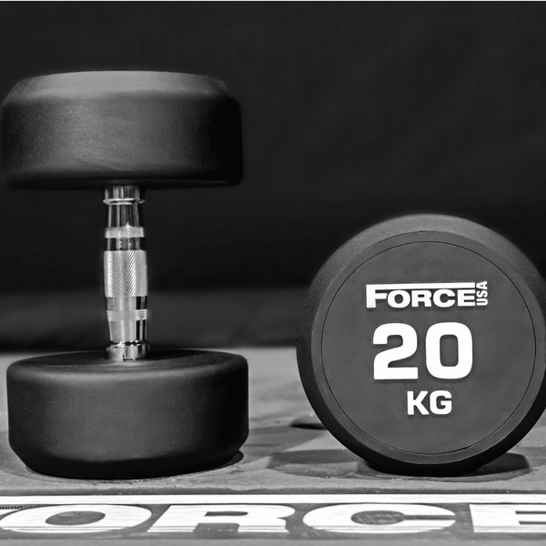 Force Usa Commercial Round Rubber Dumbbells Sold Individually Gym And Fitness