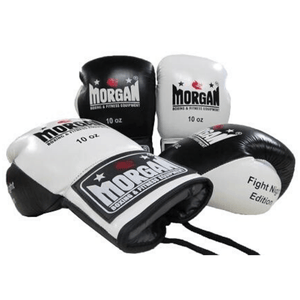 Morgan Lace Up Leather Fight Night Boxing Gloves (8-10oz)