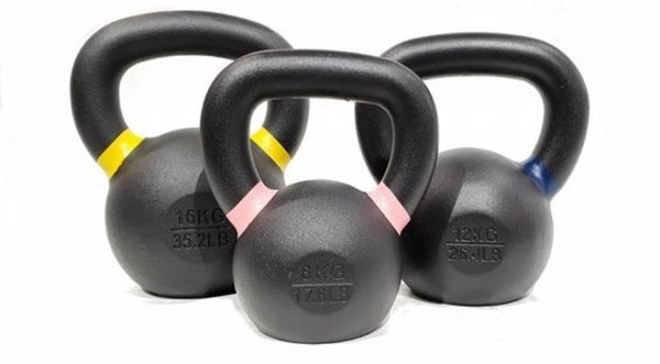 Cast Iron Kettlebell Set 1x8kg 1x12kg 1x16kg Gym And Fitness